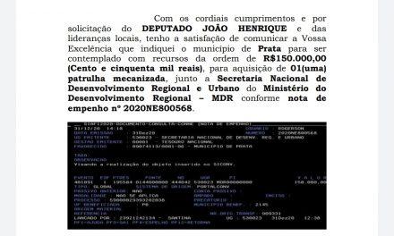Emenda do Deputado Estadual João Henrique garante patrulha mecanizada para a Prata